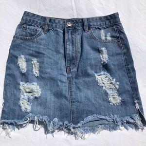 Wakee Denim Skirt Distressed Size 8